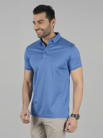 Blue Printed Slim Fit Polo T-Shirt | JadeBlue