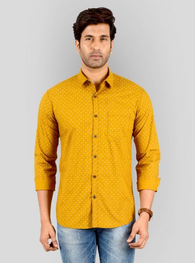 Mustard Yellow Printed Slim Fit Casual Shirt | Greenfibre