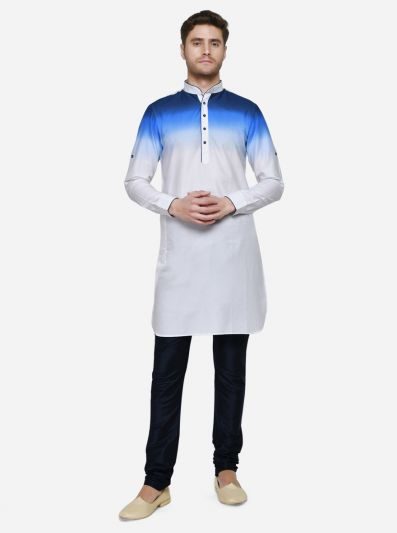 White & Blue Pathani Kurta | Azania
