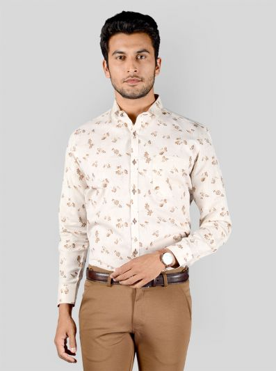 Light Beige & Brown Printed Slim Fit Party Wear Shirt | Greenfibre