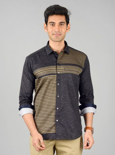 Black & Green Striped Slim Fit Party Wear Shirt | JB Studio