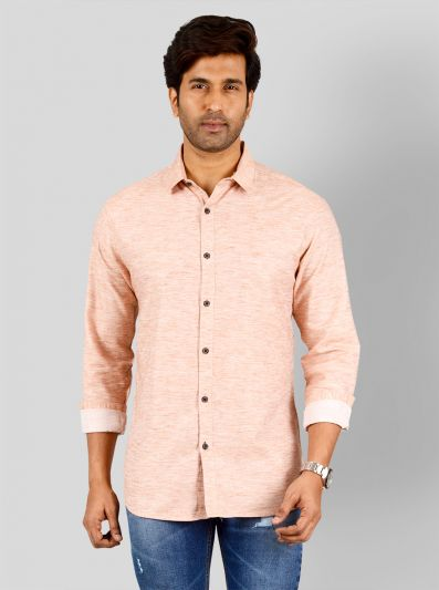 Peach Self Design Slim Fit Casual Shirt | Greenfibre