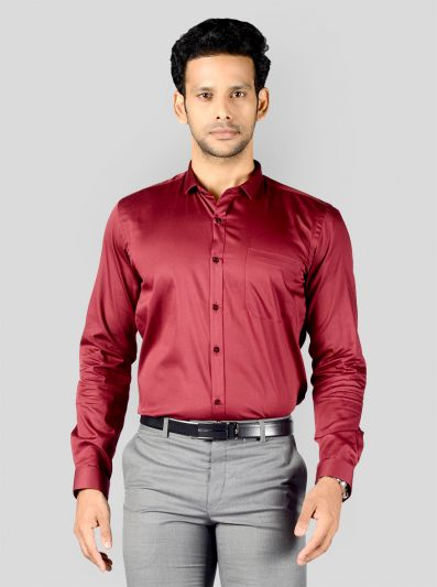 Maroon Solid Slim Fit Party Wear Shirt | Greenfibre