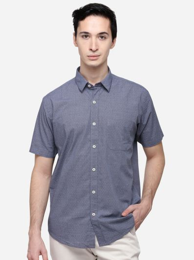 Charcoal Grey Classic Fit Printed Casual Shirt | Greenfibre