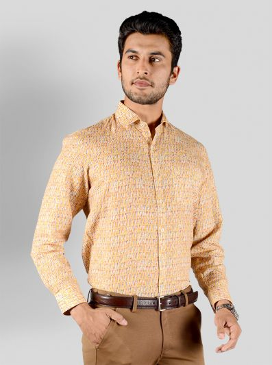 Lemon Yellow Printed Regular Fit Formal Shirt | JadeBlue
