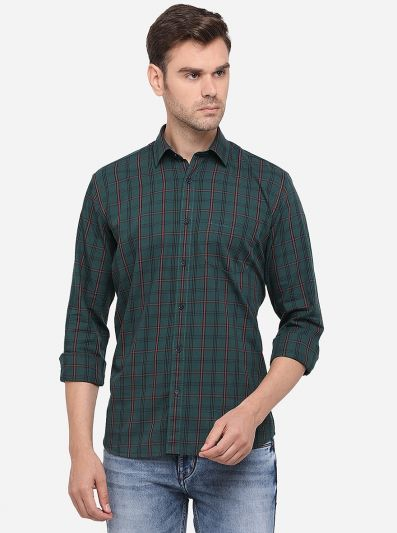 Dark Green Checked Slim Fit Semi Casual Shirt | Greenfibre