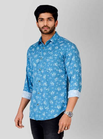 Summer Blue Printed Slim Fit Casual Shirt | Greenfibre
