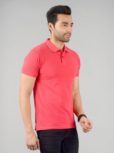 Poppy Red Solid Slim Fit Polo T-shirt | Greenfibre