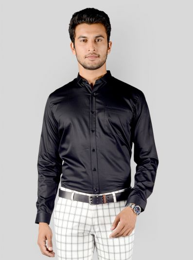 Black Solid Slim Fit Party Wear Shirt | Greenfibre