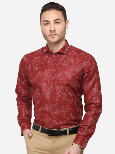 Maroon & Cream Printed Slim Fit Party Wear Shirt | Greenfibre