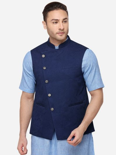 Navy Blue Solid Regular Fit Bandhgala Jacket | JB Studio