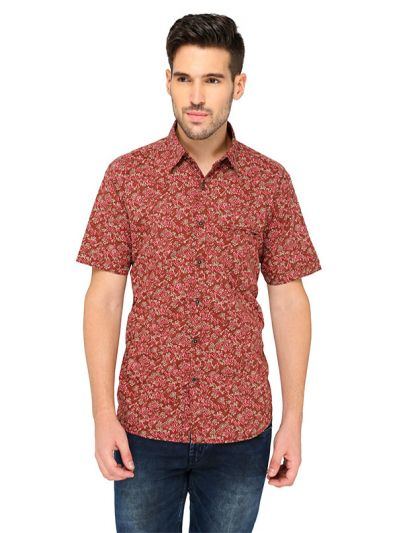 Greenfibre Maroon Printed Slim Fit Casual Shirt