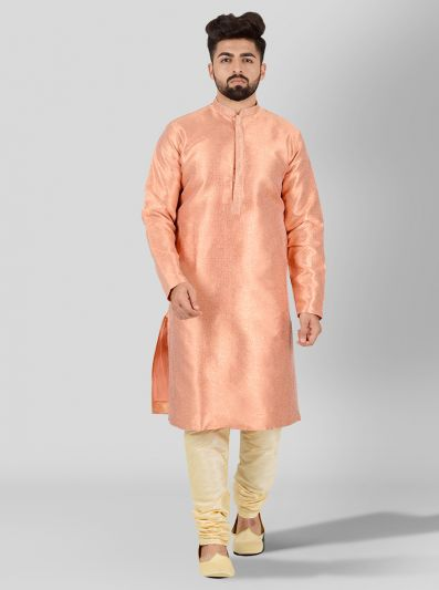 Peach & Golden Kurta Set | Azania
