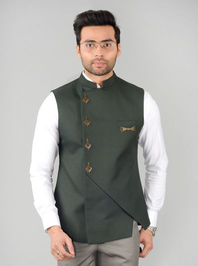 Dark Green Bandhgala Jacket | JB Studio