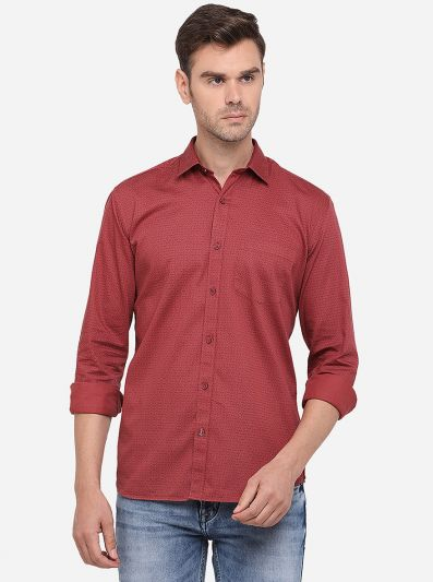 Maroon Printed Slim Fit Semi Casual Shirt | Greenfibre