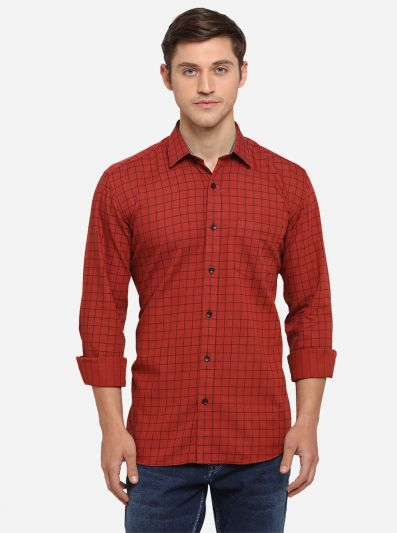 Red Checked Smart Fit Semi Casual Shirt | Greenfibre