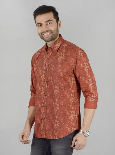 Red Printed Slim Fit Casual Shirt | JB Sport
