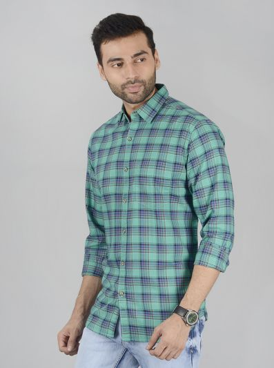 Spectra Green Checked Slim Fit Casual Shirt | JB Sport