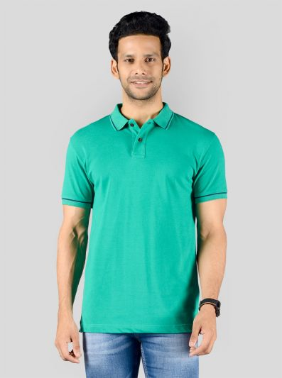 Marine Green Solid Slim Fit Polo T-shirt | Greenfibre