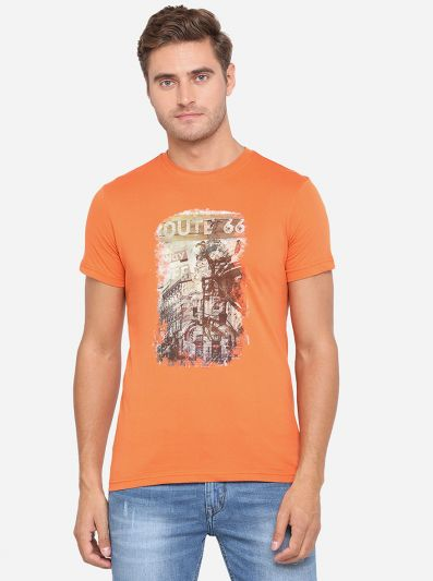 Apricot Orange Printed Slim Fit T-Shirt | Greenfibre