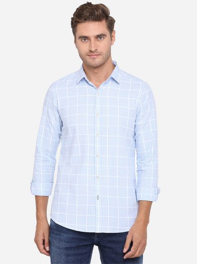 Ballad Blue Checked Slim Fit Casual Shirt | JadeBlue Sport