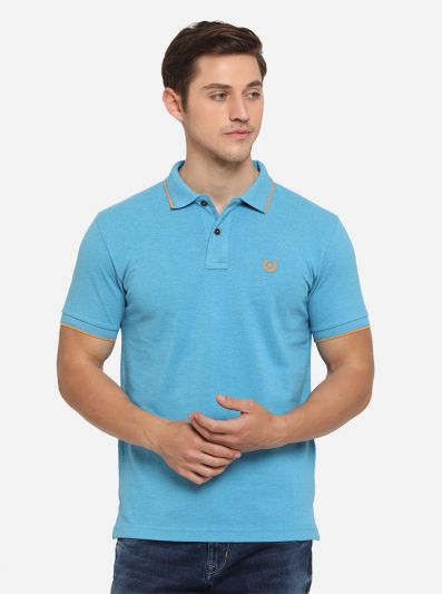 Cyan Blue Solid Slim Fit Polo T-Shirt   Greenfibre