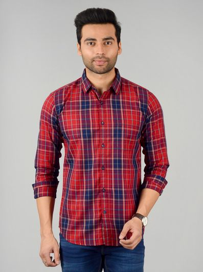 Ribbon Red Checked Slim Fit Casual Shirt | JB Sport