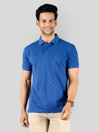 Federal Blue Printed Slim Fit Polo T-shirt | Greenfibre
