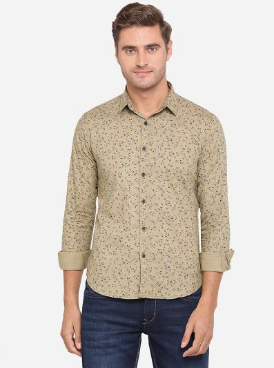 Beige Printed Slim Fit Casual Shirt | Greenfibre