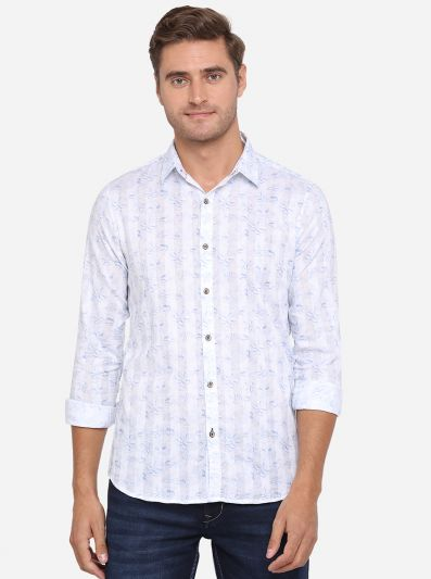 Klan Blue Printed Slim Fit Casual Shirt | JadeBlue Sport