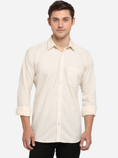 Cream Printed Slim Fit Semi Casual Shirt | Greenfibre