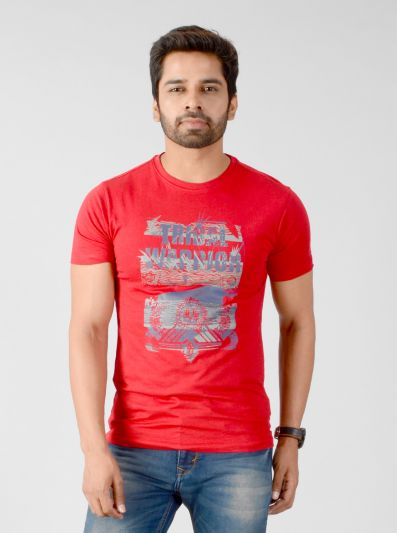 Red Printed Slim Fit T-shirt | JB Sport