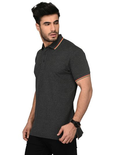 Dark Grey Slim Fit Polo T-shirt | JB Sport