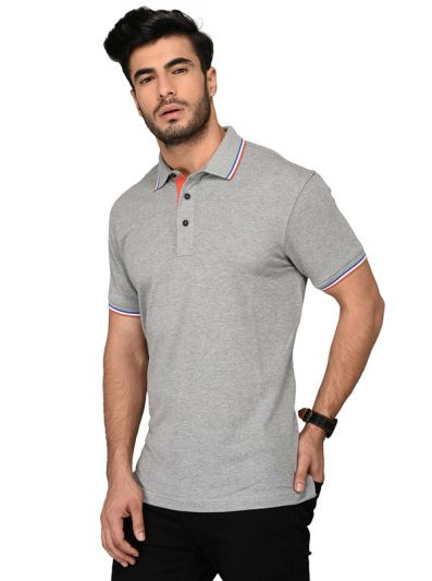 Light Grey Slim Fit Polo T-shirt | JB Sport