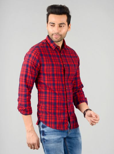 Chilly Red Checked Slim Fit Casual Shirt | Greenfibre