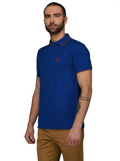 Greenfibre Royal Blue Slim Fit Polo T-Shirt