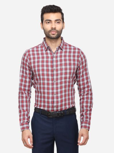 Red & White Checked Slim Fit Casual Shirt | JB Sport
