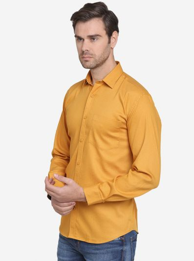 Mustard Yellow Printed Slim Fit Casual Shirt  | JadeBlue