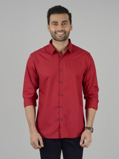 Tomato Red Solid Slim Fit Casual Shirt | Greenfibre