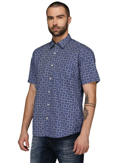 Greenfibre Navy Blue Printed Regular Fit Casual Shirt