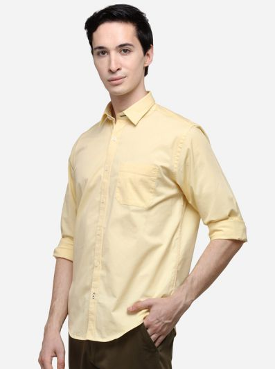 Yellow Classic Fit Solid Casual Shirt | Greenfibre