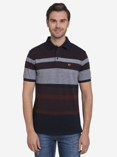 Dark Brown & Grey Striped Slim Fit Polo T-shirt  | JadeBlue Sport