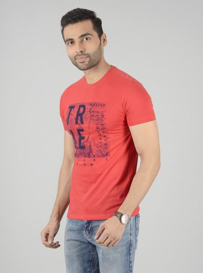 Red Printed Slim Fit T-Shirt | Greenfibre