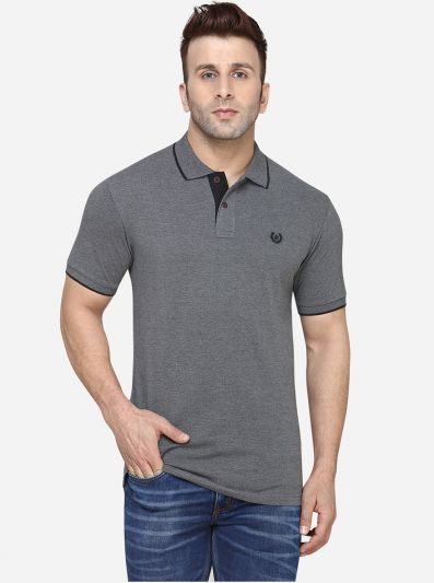 Anthra Melange Solid Slim Fit Polo T-Shirt | Greenfibre