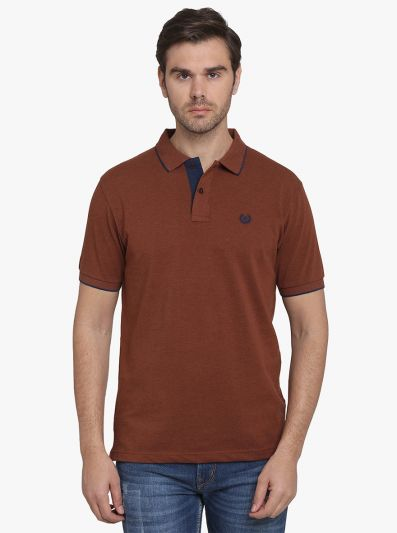 Coffee Melange Solid Slim Fit Polo T-shirt  | Greenfibre