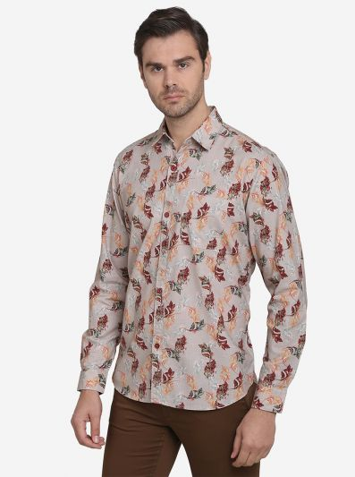 Light Grey Printed Slim Fit Casual Shirt | JadeBlue