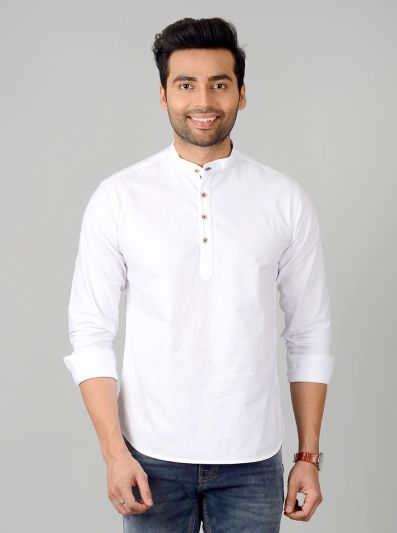 Bright White Solid Slim Fit Short Kurta | Greenfibre