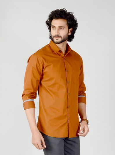 Leather Brown Solid Slim Fit Casual Shirt | Greenfibre