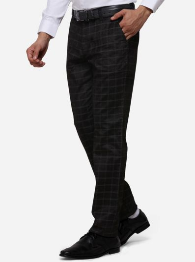 Black Slim Fit Solid Formal Trouser | JB Studio