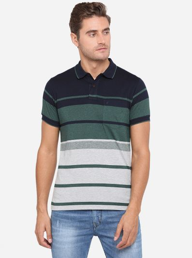 Navy Blue & Green Striped Slim Fit Polo T-Shirt | Greenfibre